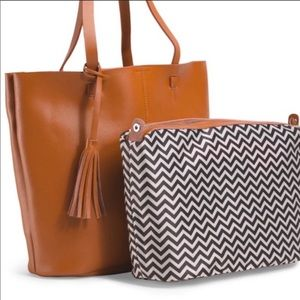 CO-LAB Leather Tote w/ Detachable Pouch